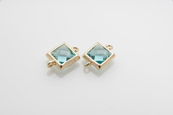 10% OFF For 10 Pieces Aquamarine Glass Connector, Square Glass, Polished Gold Plated Over Brass - 10 pieces / SGLP0003G/AQUAMARINE/PG