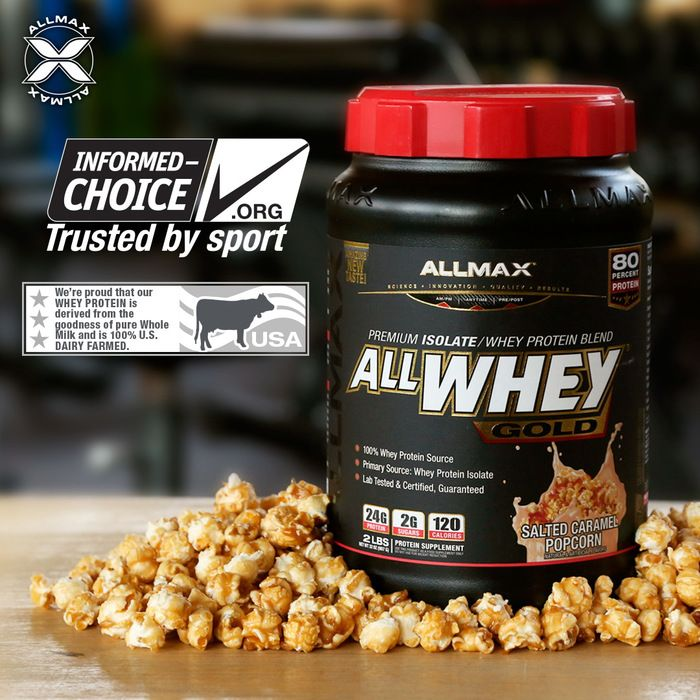Get your protein fill with a delicious #ALLWHEYGold Salted Caramel Popcorn protein shake, while watching the halftime show!  #ALLWHEY Gold is an ultra-premium 100% #wheyprotein source with 24g of Protein in every 30g serving; that's an 80% active-protein yield! Features reduced lactose (milk sugar) protein making it ideal for individuals sensitive to lactose in other protein drinks.