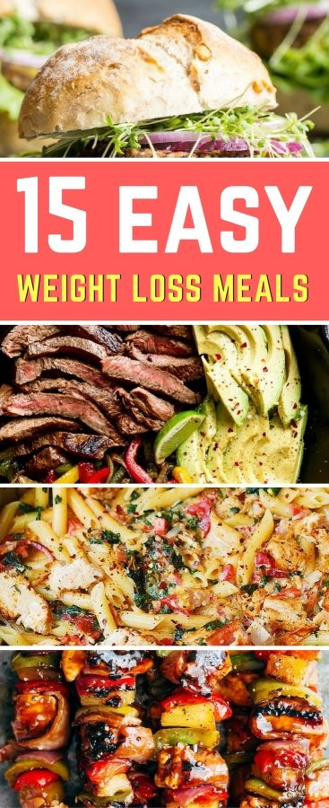Weight loss meals that are yummy and easy to make! 15 meals for losing weight with full recipes and ingredients included. Get 15 great weight loss meal ideas by reading this article!