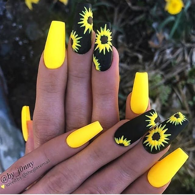 Nailsonfleek Hashtag On Instagram Photos And Videos Sunflower Nails Yellow Nail Art Hot Nails
