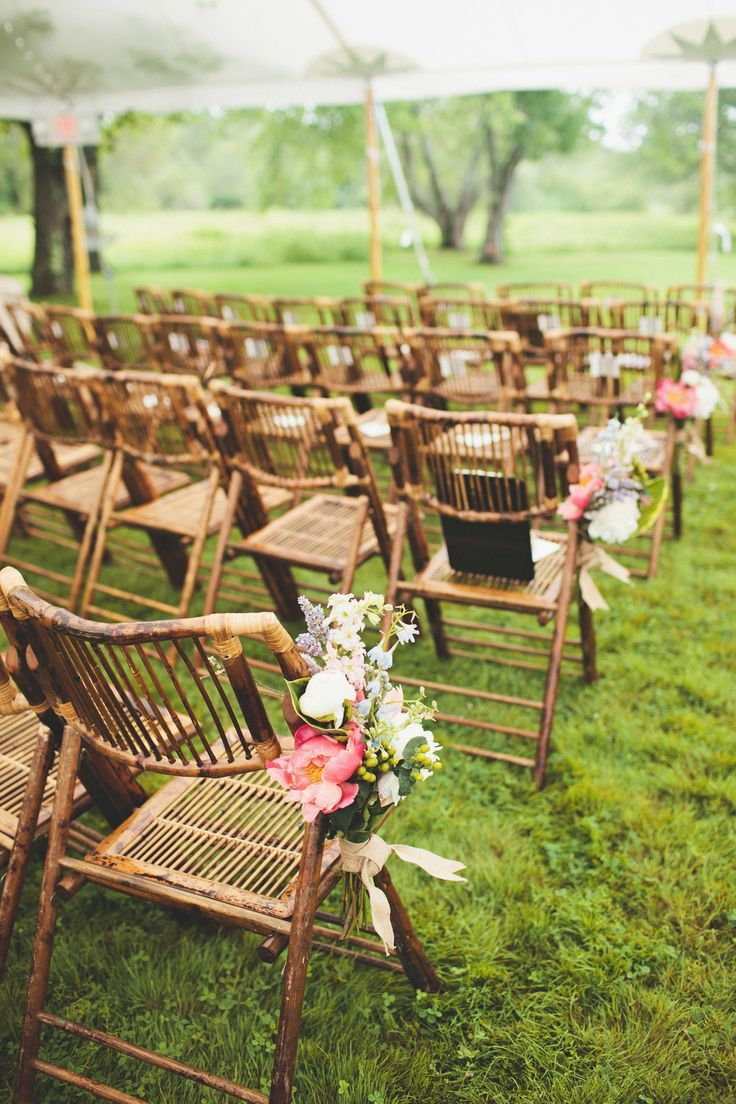 Bamboo folding chairs at the wedding ceremony
