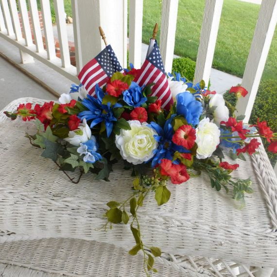 Memorial Day Flowers  Red White an Blue by JulieButlerCreations