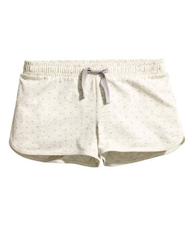 Short pajama shorts in soft cotton jersey with an elasticized drawstring waistband.