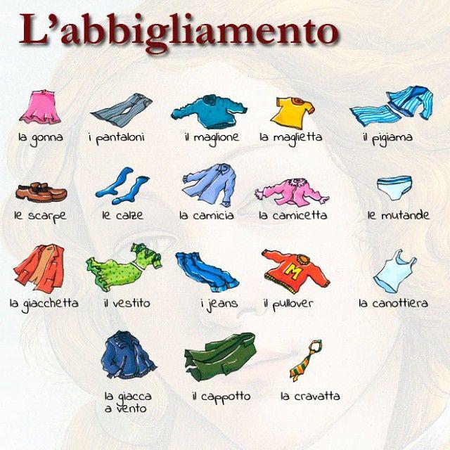 I capi di abbigliamento #vocabolario #learningitalian #learnitalian…