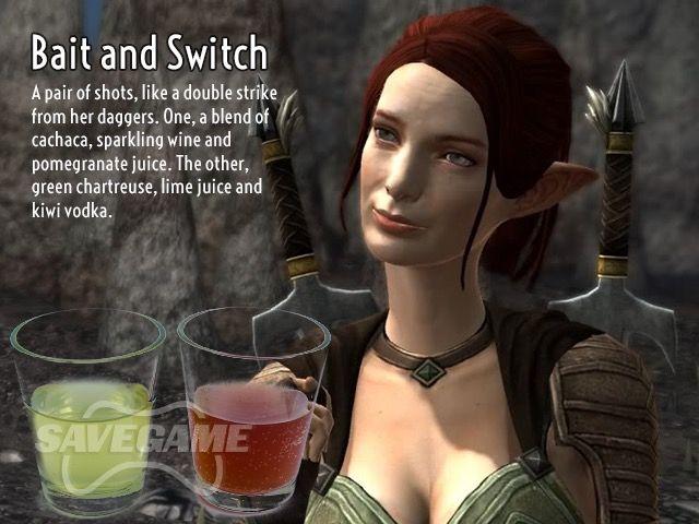 Bait and Switch Bait:      1/3 oz Cachaca     1/3 oz Sparkling wine     1/3 oz Pomegranate juice  Switch:      1/3 oz Green Chartreuse     1/3 oz Kiwi Vodka     1/3 oz Lime juice
