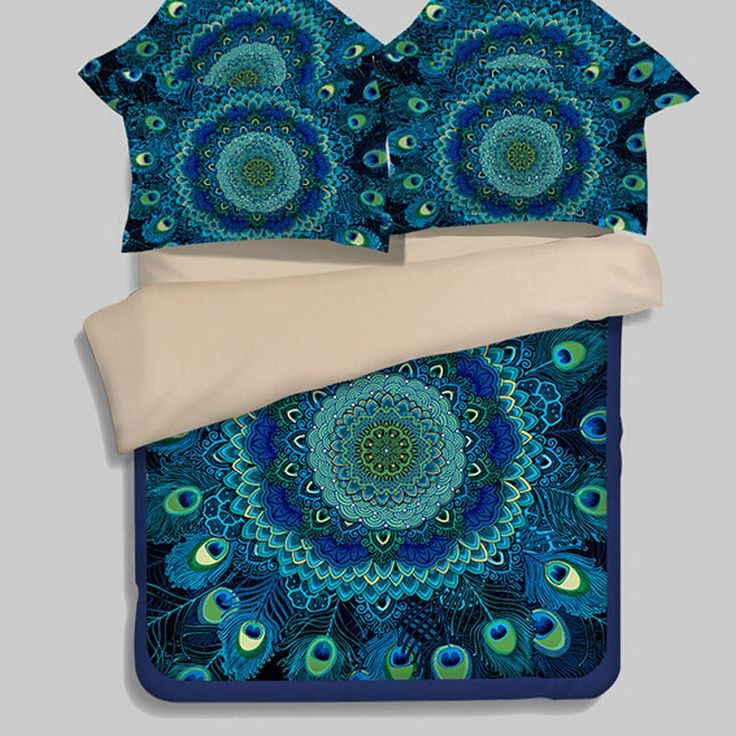 Bohemian stijl turquoise blue pauwenveren beddengoed set twin koningin kingsize dekbedovertrek lakens zachte polyester stof(China (Mainland))