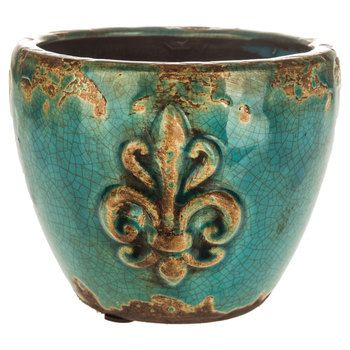turquoise crackle fleur de lis ceramic planter around the home pinterest ceramic planters. Black Bedroom Furniture Sets. Home Design Ideas
