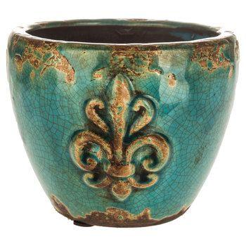 Turquoise crackle fleur de lis ceramic planter around the home pinterest ceramic planters - Fleur a planter ...