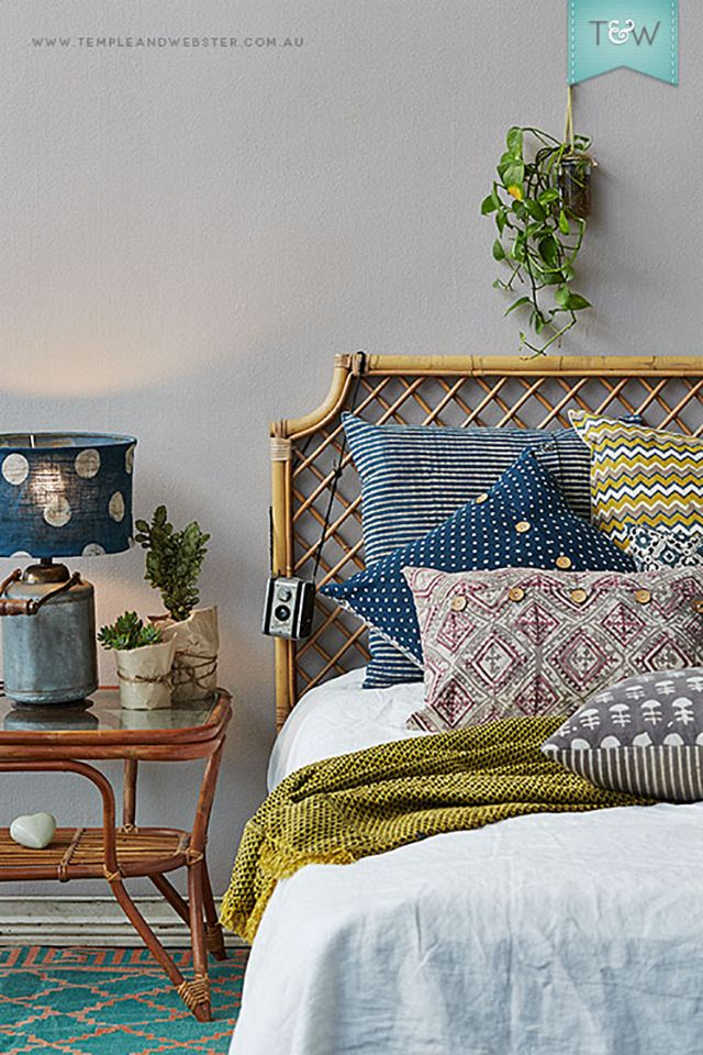 Decorating with Rattan - headboard - bedroom. Boho bohemian bedroom loving the vintage vibe.