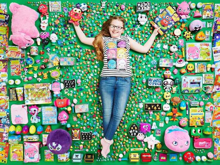 Lucy Neath with her record-breaking collection of Moshi Monsters merchandise // Photographing collections