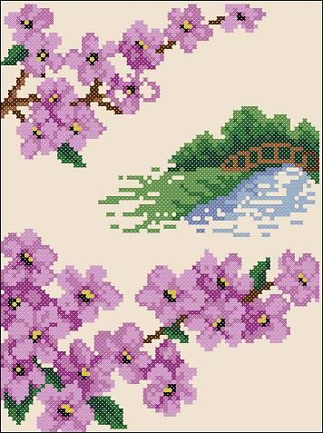 "Free cross-stitch pattern ""Sakura(2)""   Cross-Stitch Club"