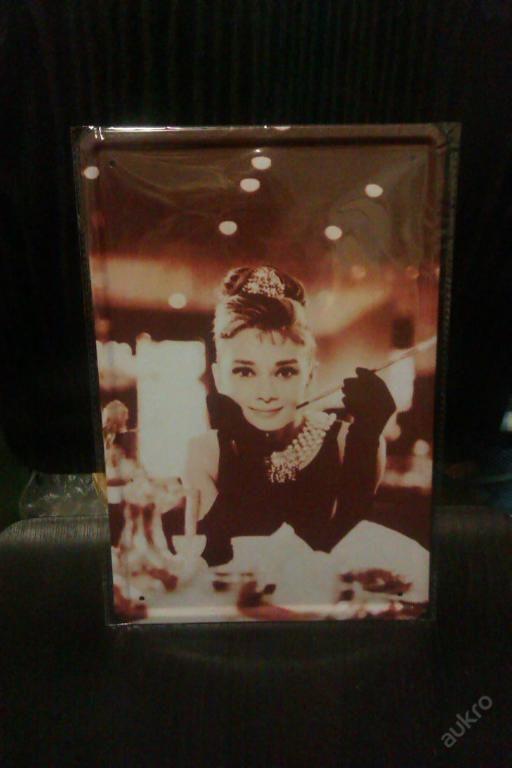 Plechová vintage,retro tabule obraz Audrey Hepburn