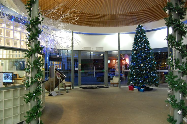 The Murray Edwards Porters Lodge; beautifully decorated for Christmas.