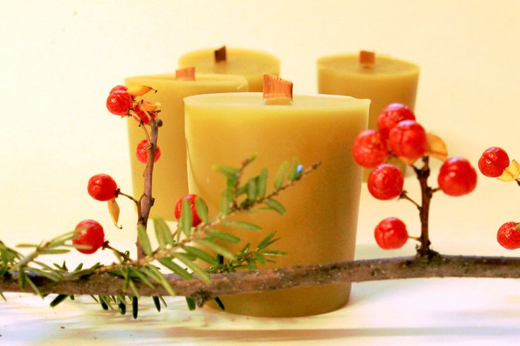 100% Organic Beeswax Candle- Votive with Wooden Crackle Wick
