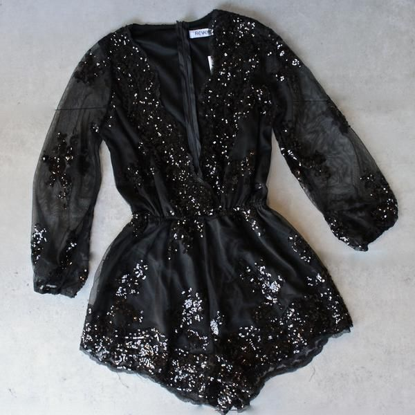 reverse - life of the party black sequin romper - shophearts - 1