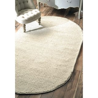 shop for nuloom handmade braided cable white new zealand wool oval rug 5u0027 x