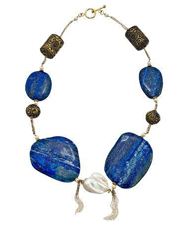 Jacqueline Pinto Lapis & Freshwater Baroque Pearl Necklace #maxandchloe