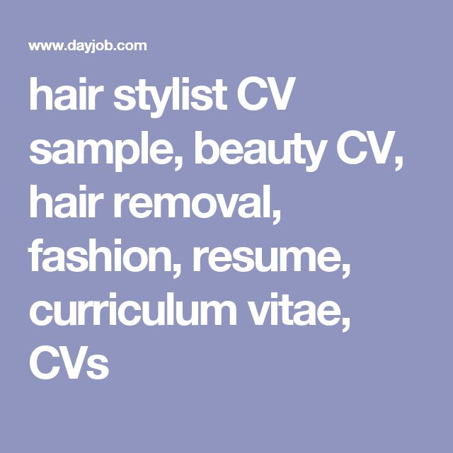 Hair Stylist Cv Template. Junior Hair Stylist Cv Template Sample