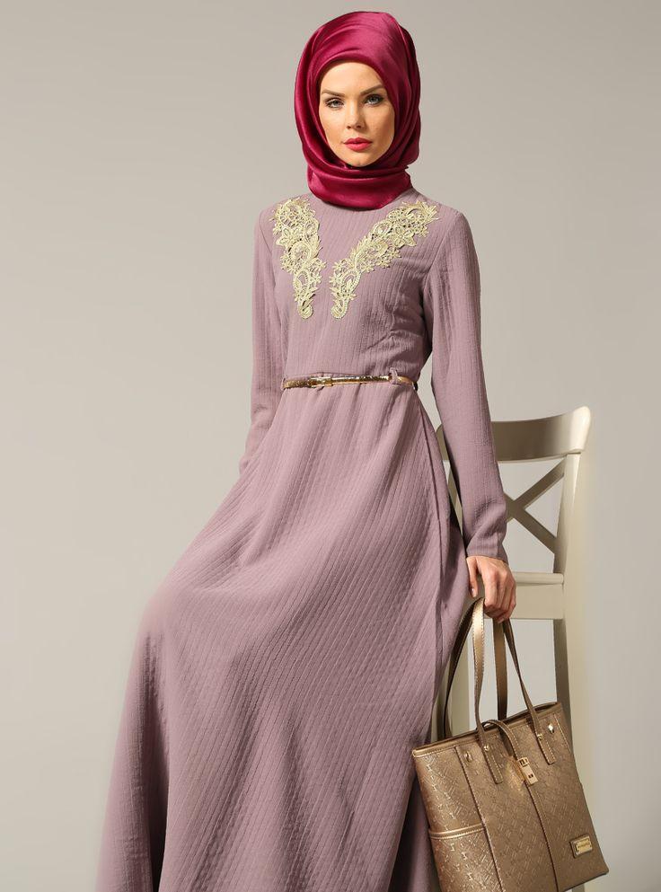Güpürlü Elbise - Vizon - Refka ::