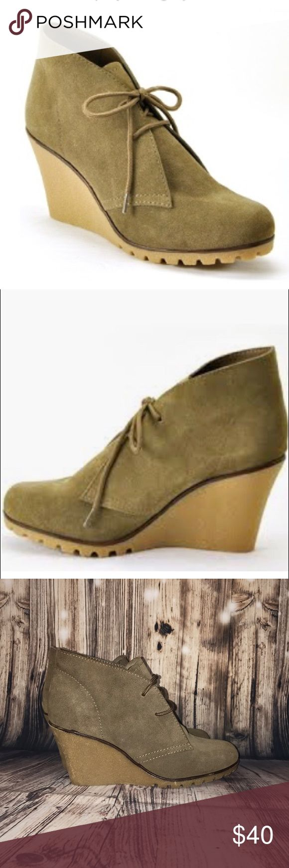 """Kelsi Dagger Fanetta Wedge Booties Kelsi Dagger size 6.5 Fanetta Wedge Booties in Taupe/Olive. Genuine leather suede upper. Round lace up vamp. Crepe rubber soles. 5"""" front wedge height, 3"""" back wedge height. Shaft: 3.5"""". Worn only once briefly! Retail: $99.00 Kelsi Dagger Shoes Ankle Boots & Booties"""