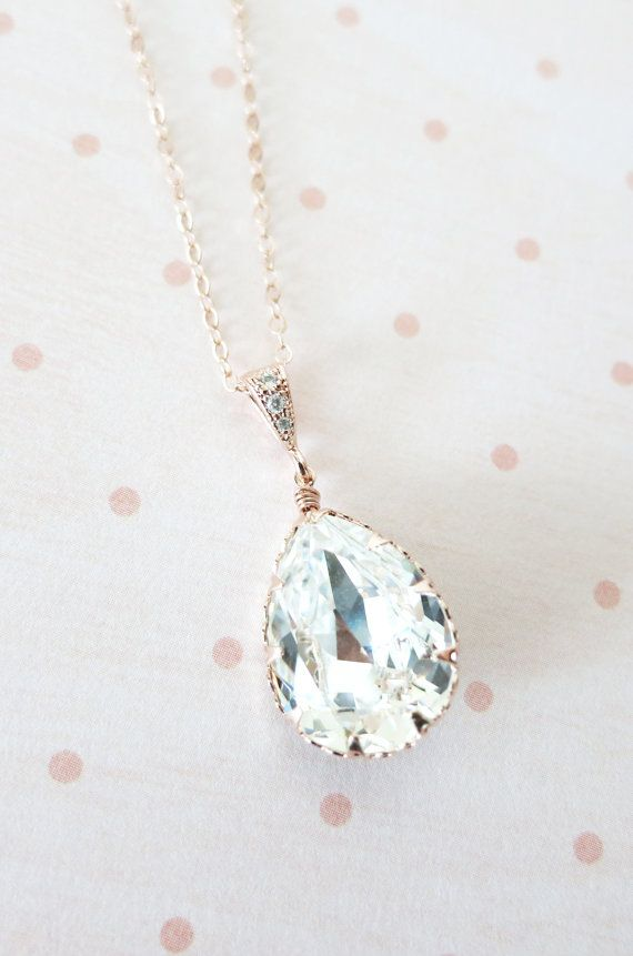 Rose Gold FILLED necklace, Swarovski Crystal Teardrop Necklace - pink rose gold weddings brides bridesmaid bridal shower gifts, crystal necklace, www.colormemissy.com