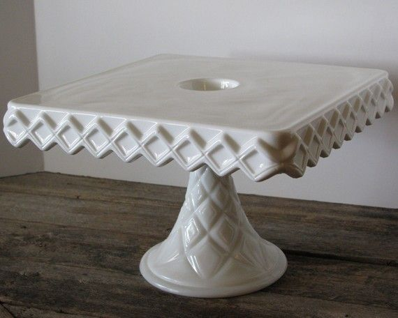 Milk Glass Square Vintage Cake Plate  $69.00