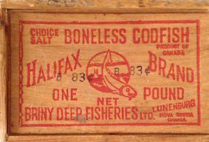 Antiquité 1950 Boîte bois Boneless Codfish Halifax Brand Pound