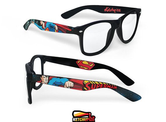 Superman glasses clear lens glasses comic unique by ketchupize! I really want these!