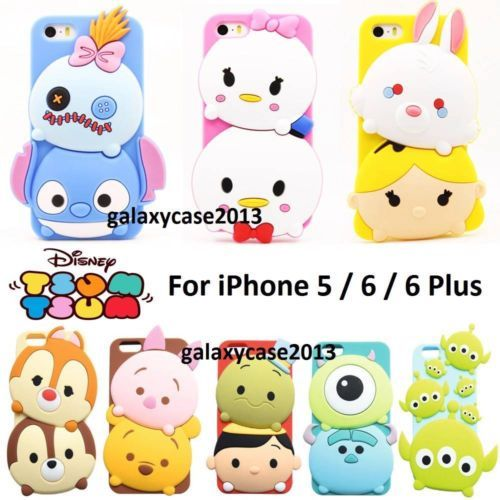 3D Cute Disney Soft Silicone Rubber Full Back Case For iPhone 5/5S/6