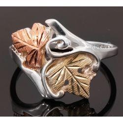 Ezüst Gyűrű 12K Arany Levelekkel - Ezüst gyűrűk - Mozaik Ékszer Webáruház