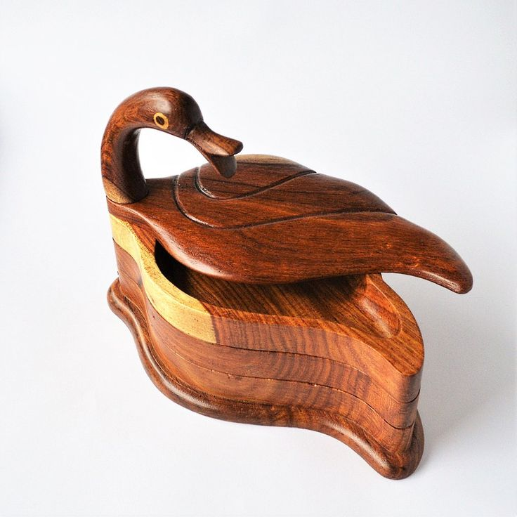 Rosewood hand-carved 3-tier swan tray