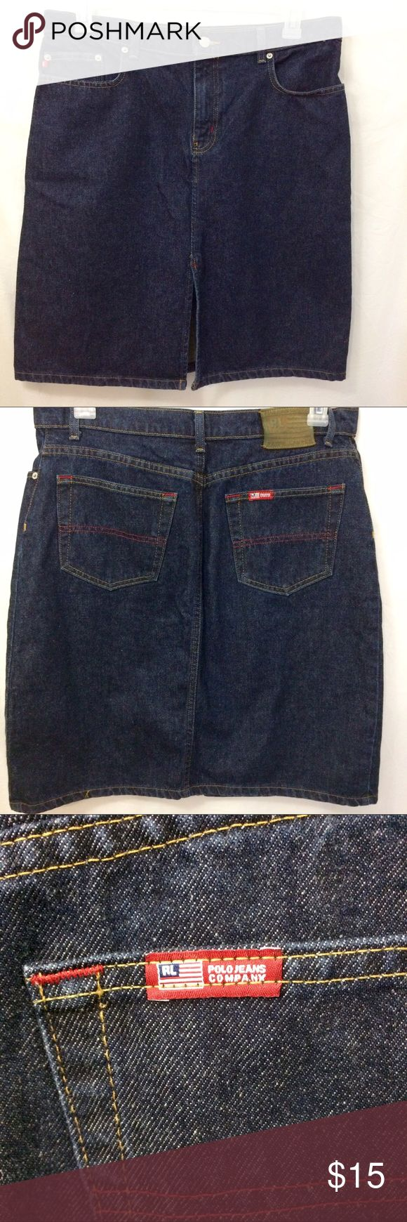 Women's Ralph Lauren Polo Jeans Denim Knee Skirt Women's Ralph Lauren Polo Jeans Denim Knee Skirt. Three pockets in the front. Two pockets in the back. Front kick slit. Size 10. Length 22 1/2 inches. Polo by Ralph Lauren Skirts