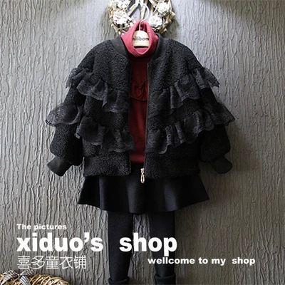 新しい 2015秋冬レース パッチワーク子供フェイクファーコート roupas ティス menina女の子ジャケット スーツ 2 〜 7年齢赤ちゃん上着(China (Mainland))