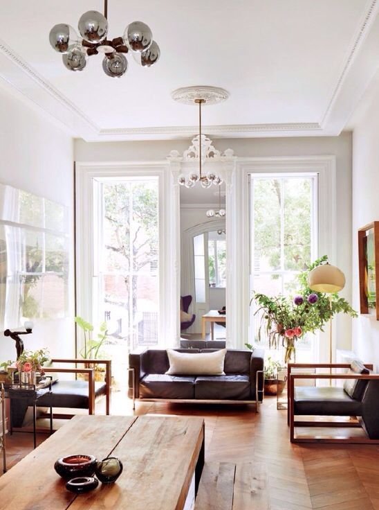 Brownstone Interior + Satellite 6 Chandelier + Silver Tip Bulbs