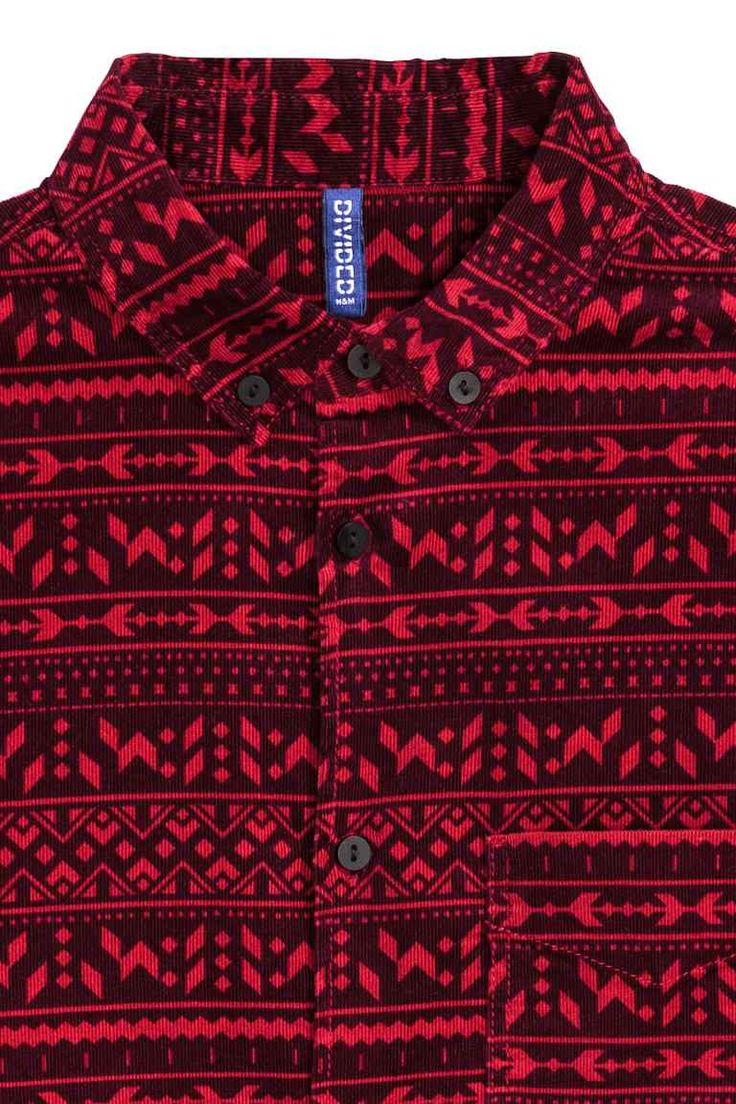 Corduroy shirt: Shirt in patterned narrow-wale corduroy with a button-down collar, chest pocket and gently rounded hem.