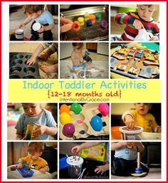 Wow! This post has been pinned 30K+ times! 12 indoor toddler activities for your 12-18 month old For Levi during Delia school time