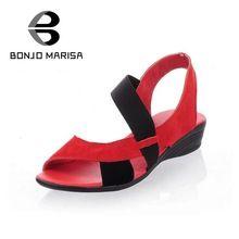 BONJOMARISA Fábrica Descuento libre del envío zapatos de gamuza de Cuero Genuino de la vaca vestido de moda de verano plana sandalias de tacón de cuña de la venta caliente(China (Mainland))