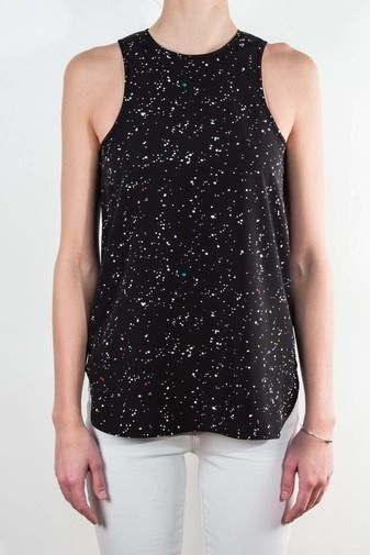We love this cute splatter tank from Tibi. The best staple item. Under any blazer or jacket, tucked in or pulled out, with pants, jeans or skirts - you name it, you can do it with this top.