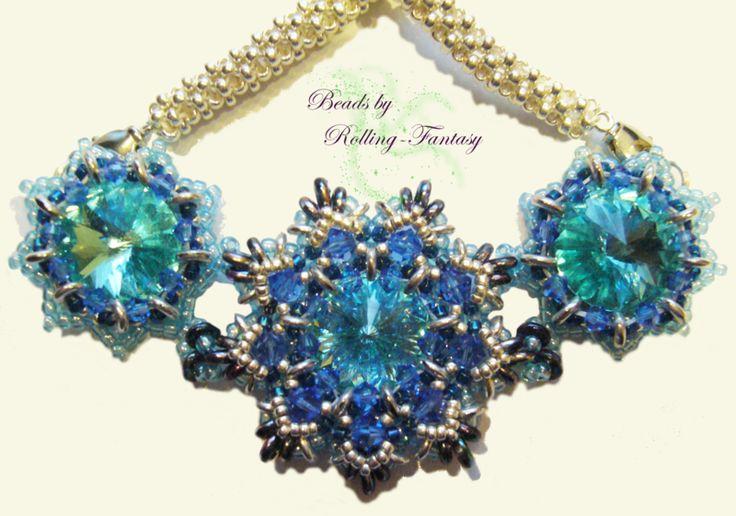 "Collier ""O-Dilia"" in Blau und Silber von Beads by Rolling-Fantasy auf DaWanda.com"