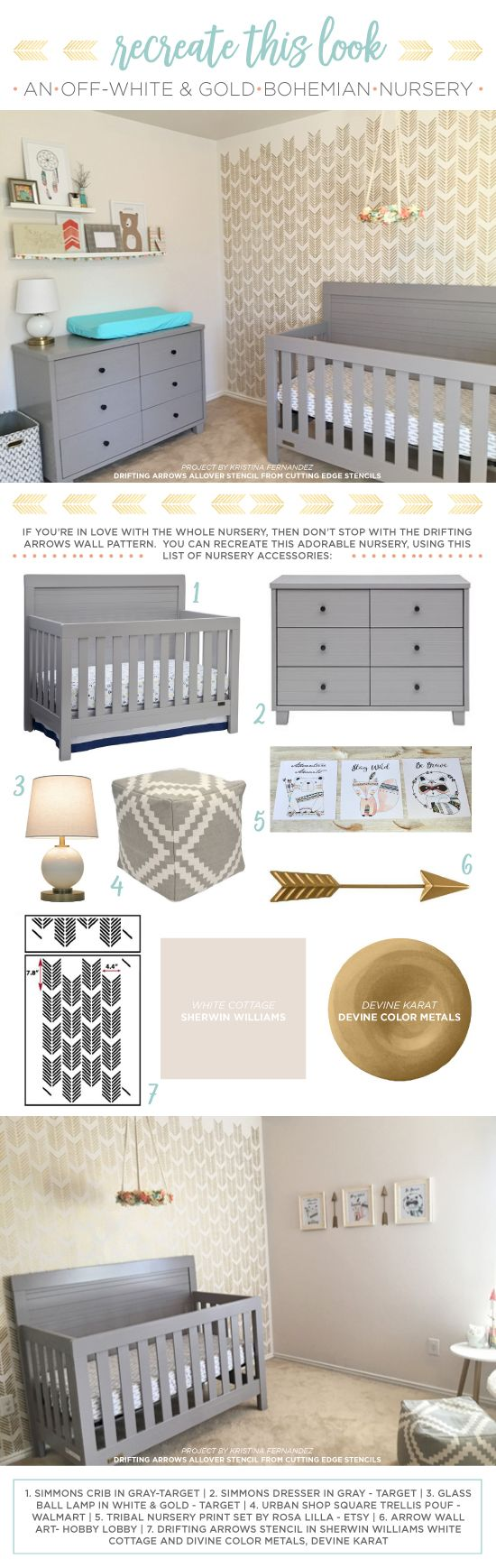 330 best girls room stencils decor images on pinterest cutting edge stencils shares a diy stenciled girls nursery accent wall using the drifting arrows stencil amipublicfo Image collections