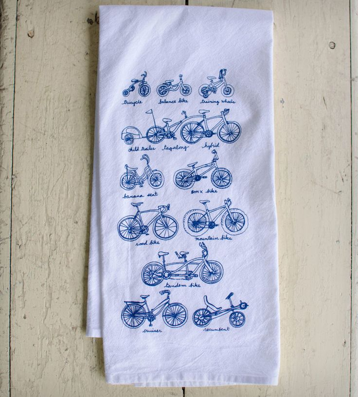 Cycles of Life Dish Towel | Every stage of life has its own bike, and this white or natura... | Kitchen Towels