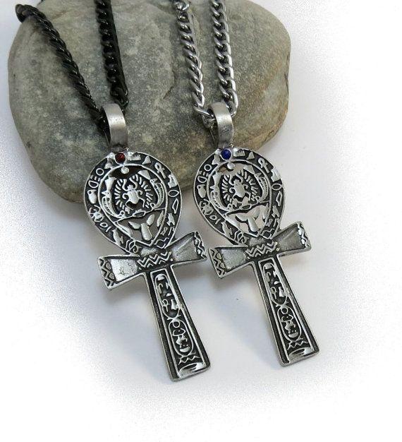 Ägyptischer Schmuck, große Ankh-Halskette - Silber Key of Life Cross Collier mit Skarabäus - rot oder blau Stein