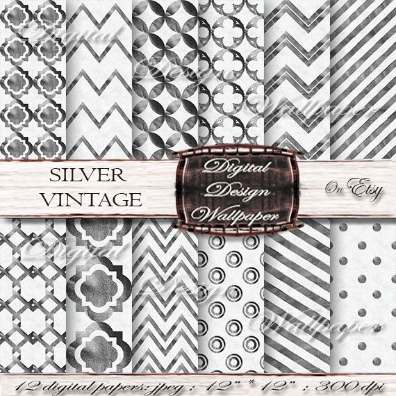 Silver Digital Paper,Digital Paper Pack,Vintage Background,Silver Background,Silver Patterns,Silver Quatrefoil,Silver Dots,Silver Chevron,Silver Digital PaperDigital Paper by DigitalDesignPaper on Etsy