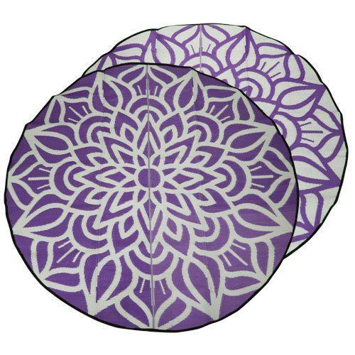 ANCESTRAL CONNECTEDNESS Mandala Design Recycled Mat, Violet & White