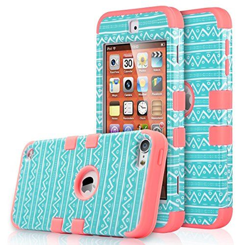 iPod Touch 6 Case,iPod 6 Case,iPod 5 Case,ULAK [Colorful Series] 3-Piece Style Hybrid Hard Case Cover for Apple iPod Touch 5 6th Generation (Wave Pattern/Rose Pink)