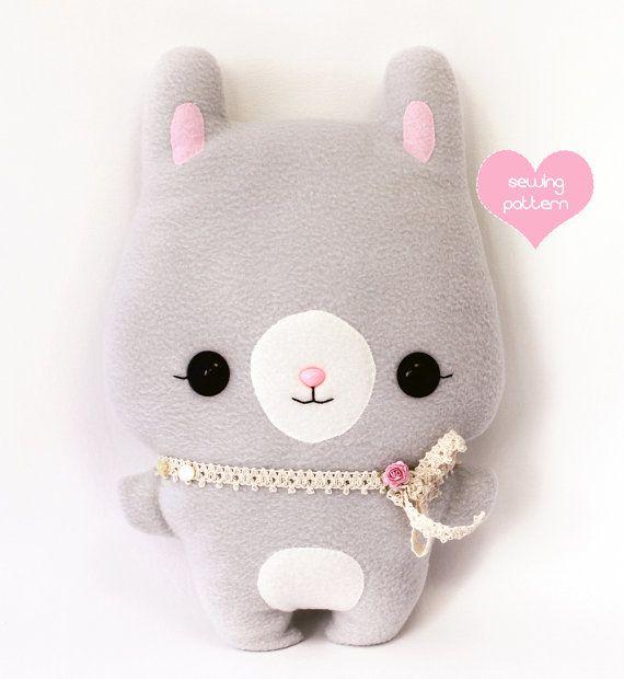 "Plushie Sewing Pattern PDF Cute Soft Toy - Mimi Bunny Rabbit Softie Stuffed Animal 14"" on Etsy, $9.00"