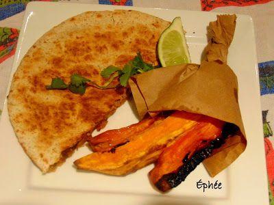 Quesadillas au chili et frites de patates douces à l'érable