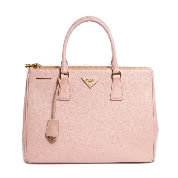 PRADA Saffiano Lux Medium Double Zip Tote Cammeo liked on Polyvore  featuring bags 2dc5601cdb147