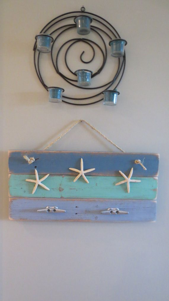 Starfish Coat Hooks in varying Blues upcycled recycled repurposed reclaimed nautical boat cleat coat hooks beach ocean seaside decor