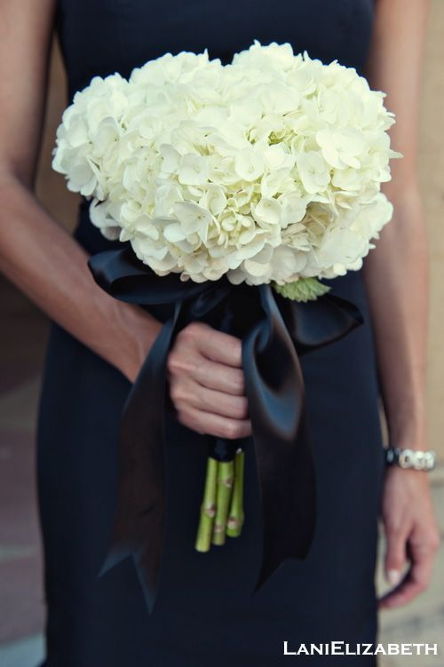 long stemmed white hydrangea bridesmaid bouquet... with purple/ teal ribbon... my flowers in color with white ribbon